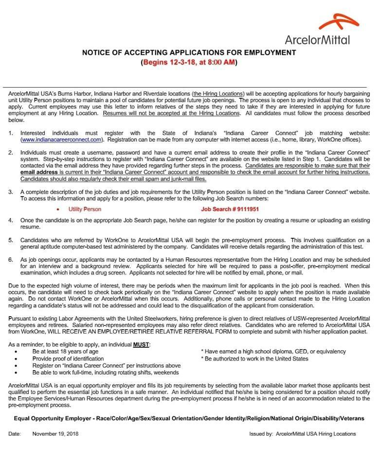 notice of accepting applications of employment usw local 6787