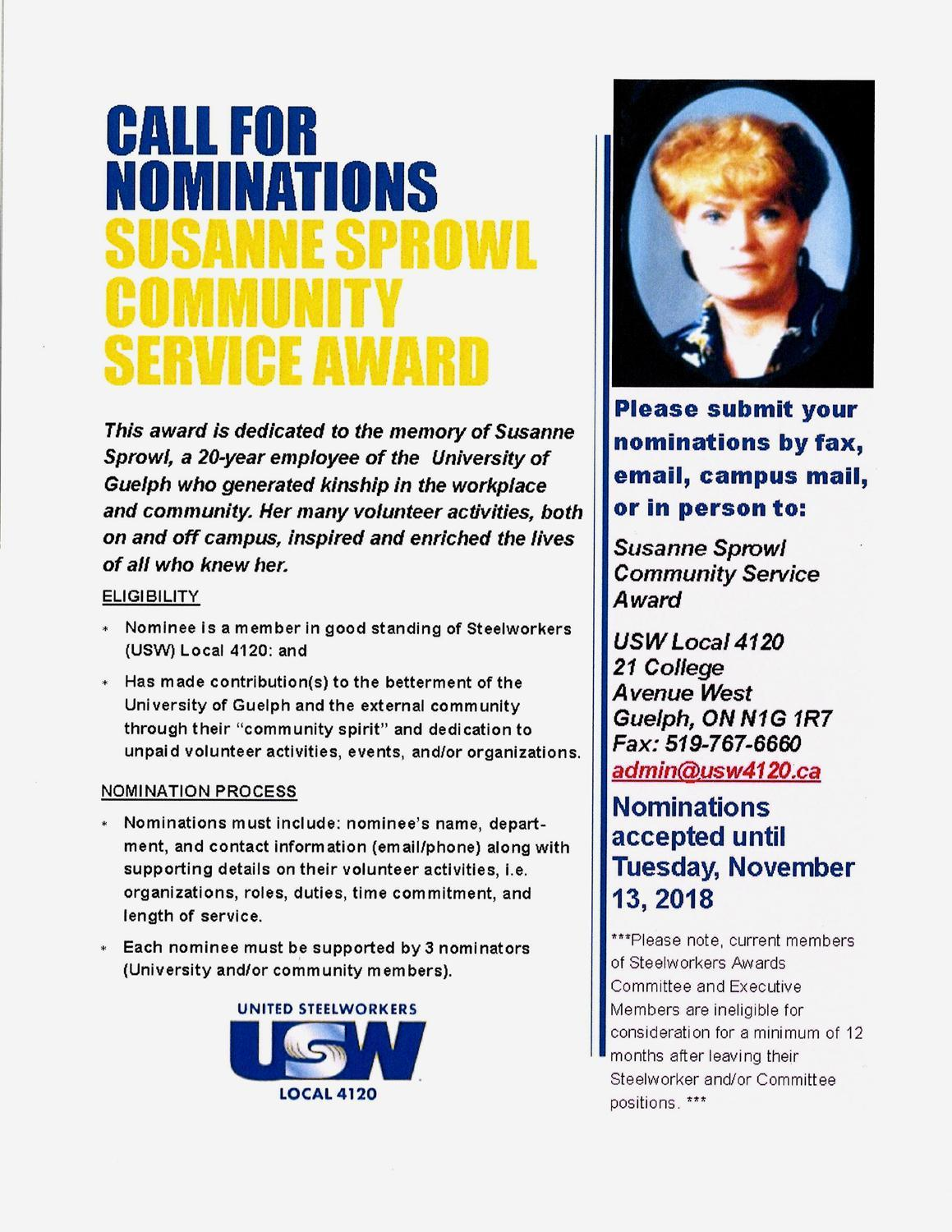 Sue Sprowl Call for Nominations