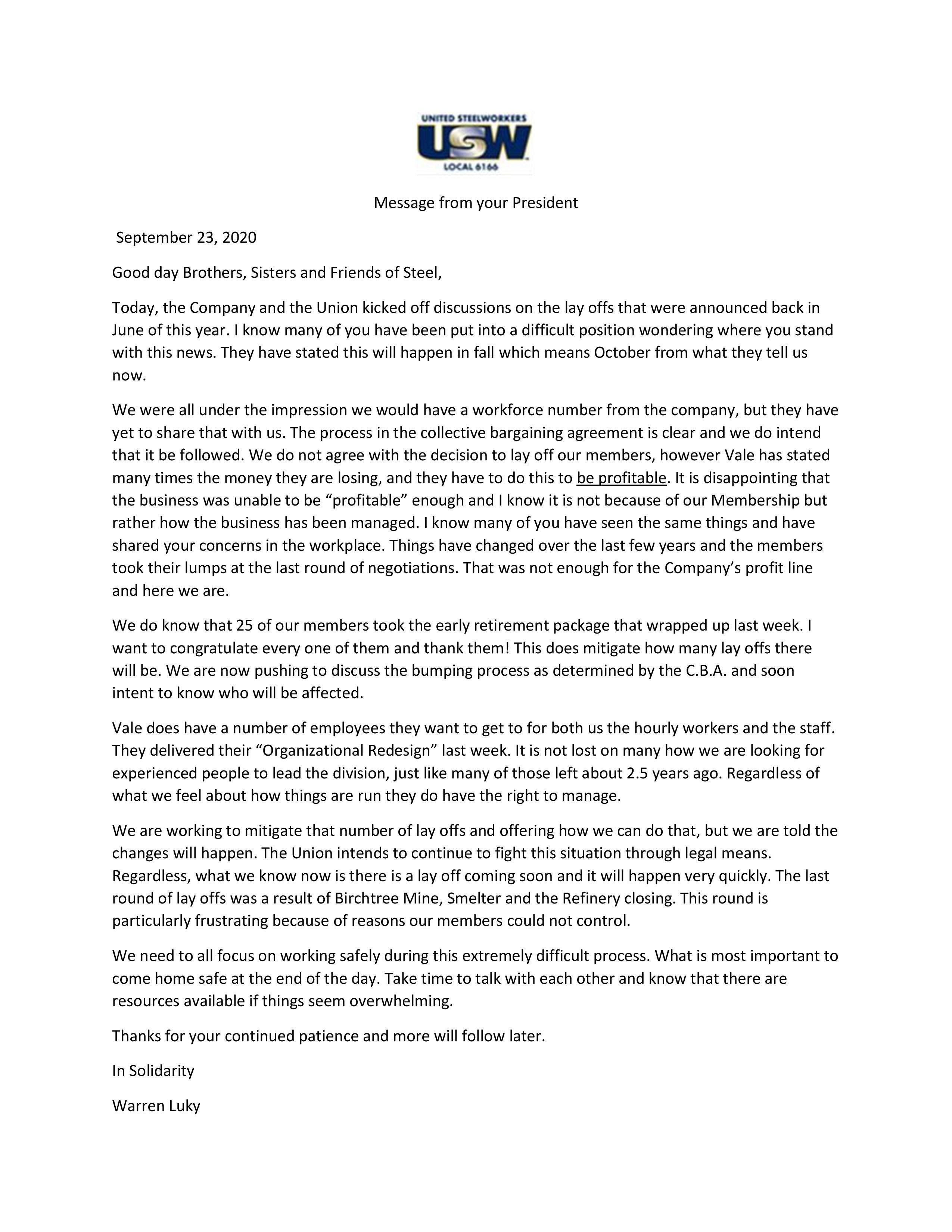 President message
