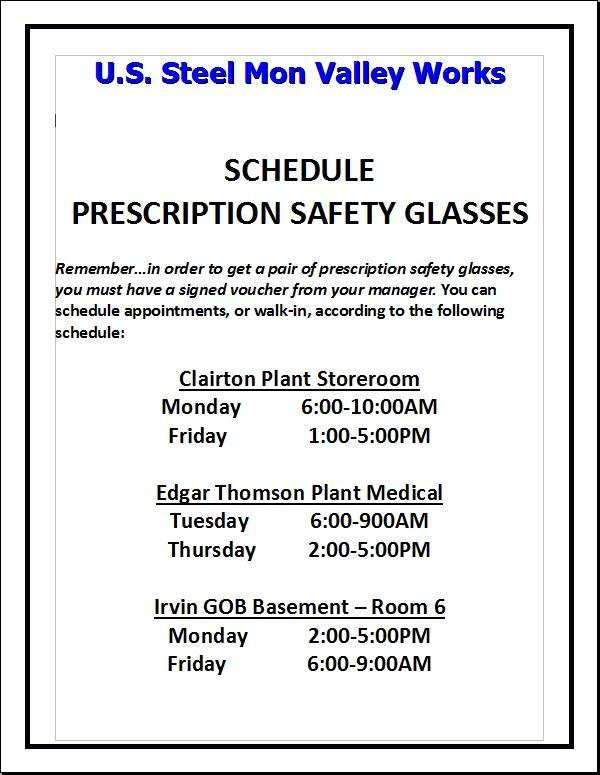 Safety Glasses Schedule