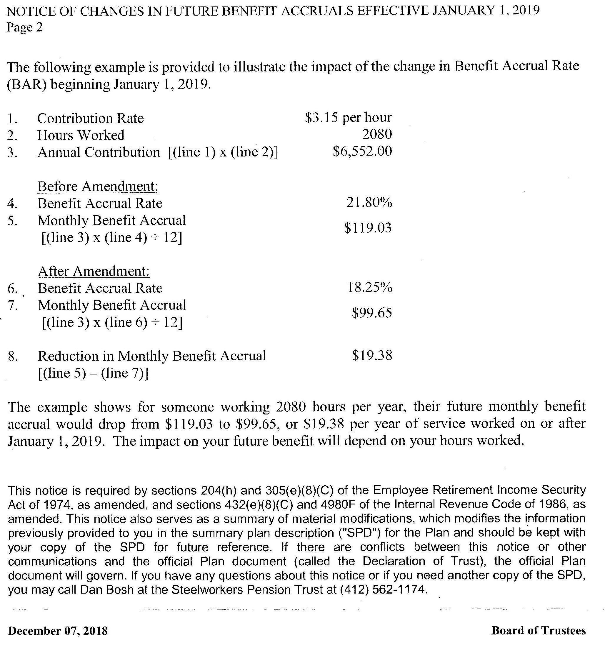Steelworkers pension trust calculation