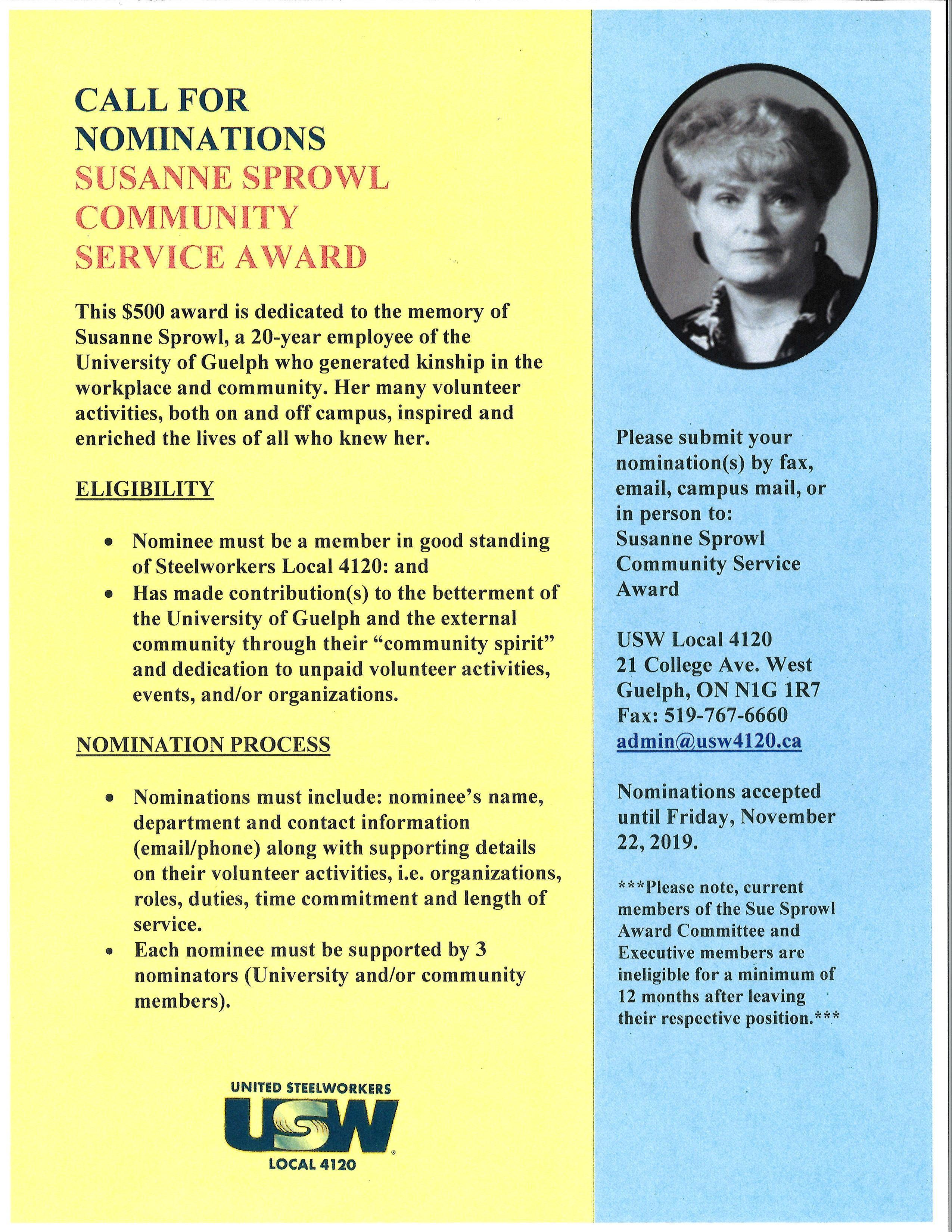 Susanne Sprowl Community Service Award